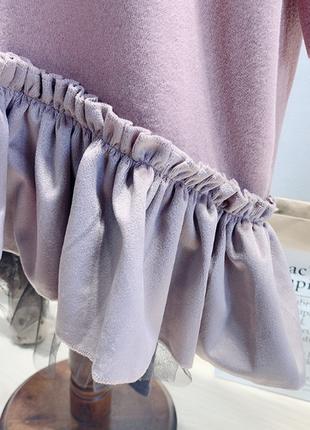 Новое детское лавандовое платье-пайта с капюшоном4 фото
