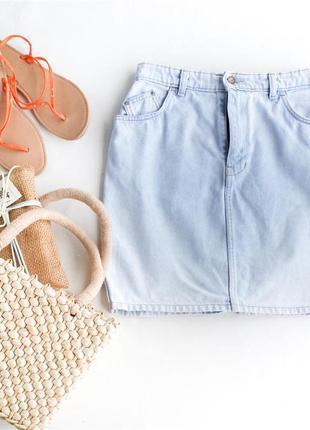 Джинсовая юбка 100% хлопок высокая завышенная талия