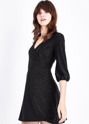 Нарядное вечернее платье люрекс верх на запах, юбка клёш, объёмный рукав