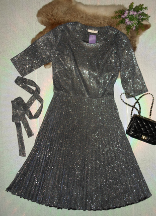 Серебряное  блестящее люрексовое платье миди с переливом и юбкой плиссе 44,46,48
