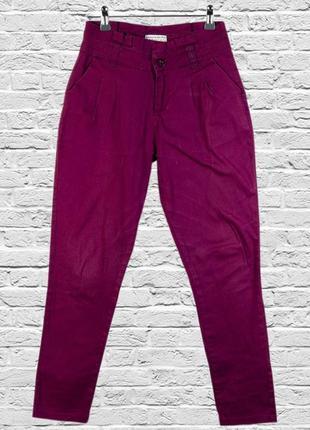 Бордовые чиносы приталенные, бордовые штаны классические