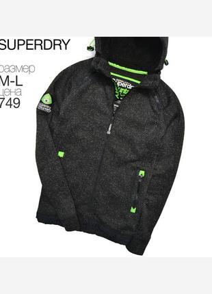 Superdry m-l/ сверяйте замеры. очень тёплый худи на фдисе