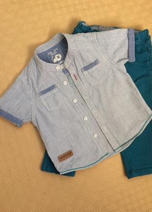 Рубашка в полоску/короткий рукав