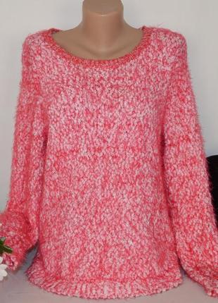 """Брендовая розовая теплая кофта свитер букле """"травка"""" tu бангладеш"""