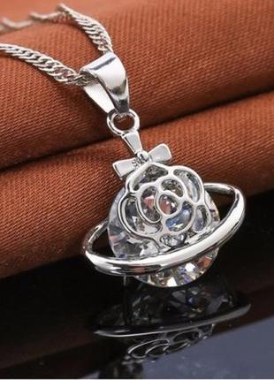 Подвеска на цепи в серебре 925 с фианитом роза, новая! арт.109179