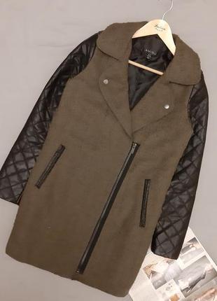 Пальто косуха с кожанными рукавами, пальто демисезонное
