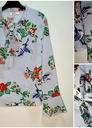 Стильная рубашка в цветочный принт с длинным рукавом