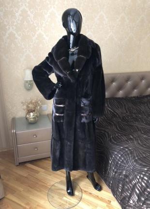 Норковая шуба blacknafa, номерная, длина 120 см, 46-48, халат