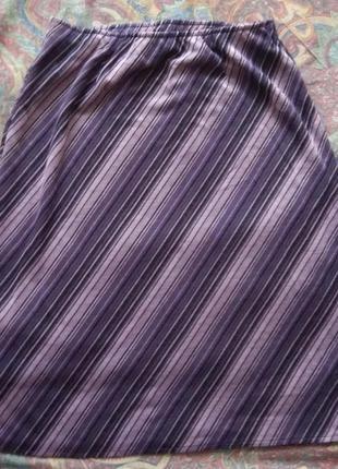 Юбка полоска миди большой размер  damart