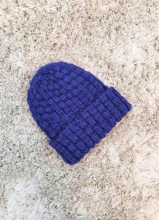 Шапка зимняя вязанная синяя h&m