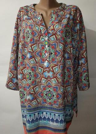 Стильная блуза в орнамент marisota. uk 22 / 50 / 4xl большой размер