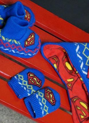 Шапка + перчатки,пинетки супермен superman (early days) 6 месяцев
