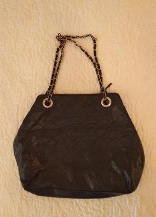Черная сумка кожзам с длинными ручками