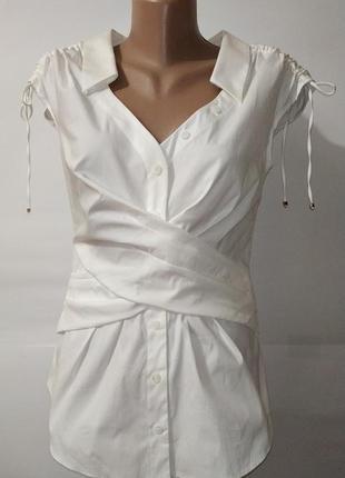 Белая новая нарядная хлопковая блуза karen millen. uk 10 / 38 / s