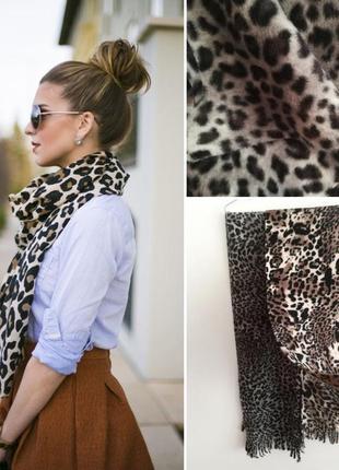 Новый толстый флисовый шарф с анимал принтом, леопард