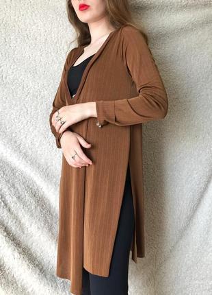 Кофта, джемпер накидка свободная zara , коричневого , бронзового цвета ,m-с размер