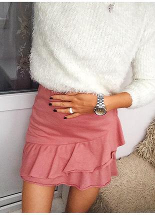 Стильная трикотажная юбка меланжевого пудрового цвета от fb sister