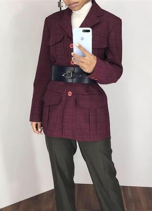Жакет пиджак в клетку винного цвета