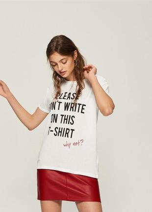 Новая широкая белая футболка sinsay не пишите на этой футболке! почему? xs s m l xl