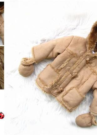 Стильная теплая куртка дубленка с капюшоном и рукавицами ladybird