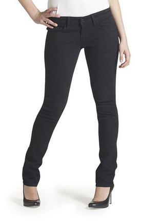 Черные тонкие стрейч джинсы со стразами  w-25  l 34