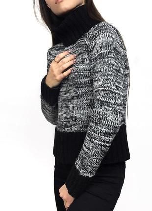 Укороченный свитер джемпер  с большим объемным горлом veromoda
