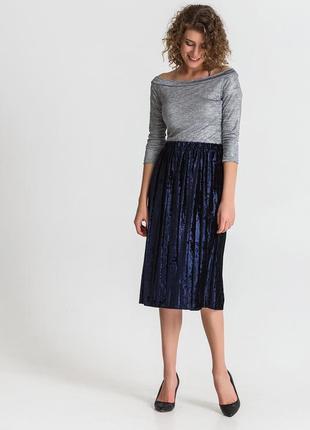 Невероятно красивая велюровая бархатная юбка плисе
