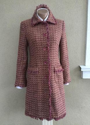 Красивое,твидовое пальто по фигуре,бахрома,стиль шанель,шерсть,hirsch,
