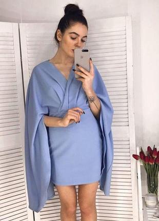 9голубое платье/женское платье мини/платье кейп/женское голубое короткое платье