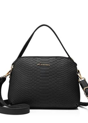 Сумка женская черная на плечо маленькая сумочка кожаная жіноча