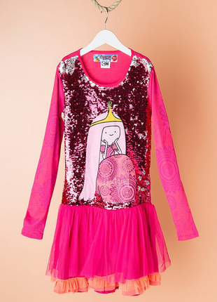 Яркое платье с двусторонними пайетками desigual adventure time принцесса бубль гум 146/152