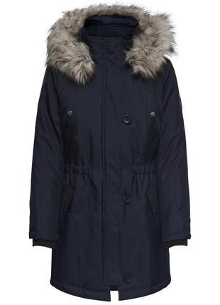 Трендовая куртка черная утепленная/пуховик приталенный/парка с мехом only
