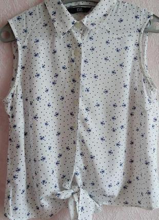Рубашка блузка на завязку, квітковиий принт, роз м