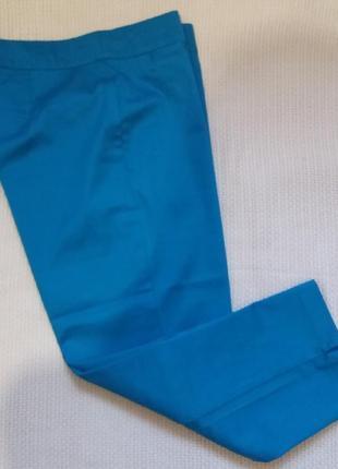 Яркие бирюзовые капри/ укороченные брюки р. 12-14