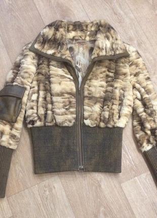 Шикарная итальянская куртка шуба из норки и натуральной кожи эксклюзив
