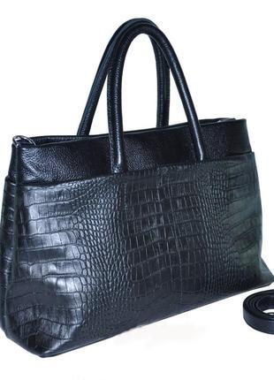 Кожаная черная cтильная женская сумка