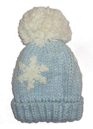 Новая вязаная голубая шапка для девочки, mothercare, 6182