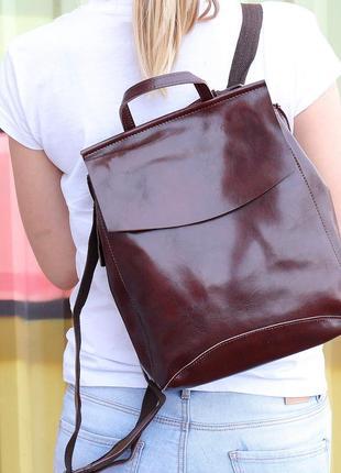 Стильный коричневый рюкзак, сумка, трансформер-натуралная кожа