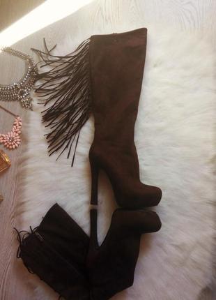 Зимние высокие коричневые замшевые сапоги с бахромой от bellissimo теплые на каблуке