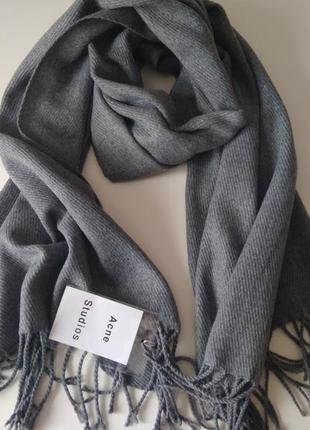Изысканный серый шарф, палантин acne studios, 100% овечья шерсть.
