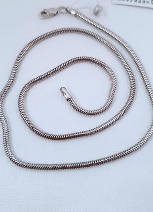 Серебряная цепь снейк 925 проба родий,  45 и 50 см.