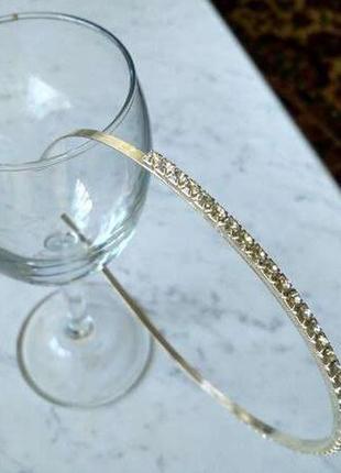 Свадебный волшебный обруч с камнями - элегантный серебристый тонкий обруч на голову