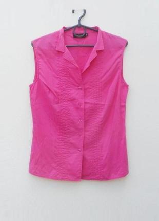 Летняя блузка рубашка без рукавов с воротником