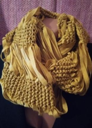 Горчичный шарф снуд