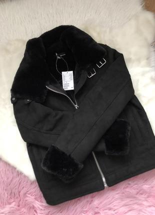 Трендовая дубленка чёрная на меху/короткая замшевая куртка/курточка h&m