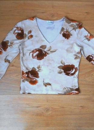 Топ xanaka укороченый кофта кофточка блуза блузка свитер принт розы р. s - xs