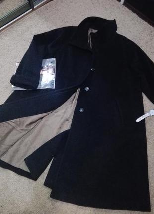 Универсальное серо-черное пальто трапеция большого размера шерсть dinomoda