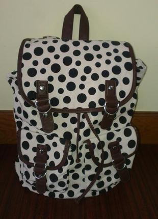 Молодежный женский рюкзак в горошек