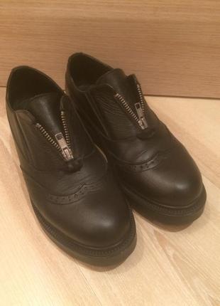 Кожаные туфли -ботинки