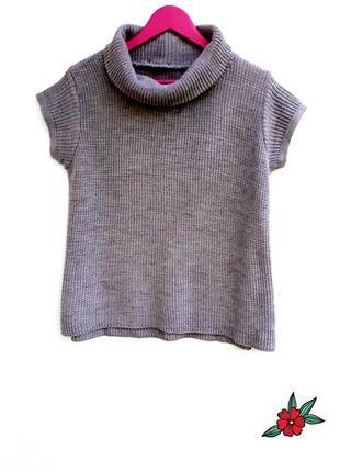 Свитер с горлом и коротким рукавом свитер грубой вязки меланжевый свитер